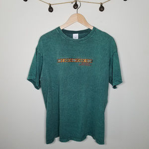 Vintage Green Acid Wash Bandelier New Mexico Tee L